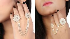 Fashion Designer Silver Plated Crystal Star Double Finger Ring for Women Girl