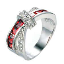 1.93ct Ruby 925 Silver Fashion Wedding Jewelry Engagement Ring Size 6-10