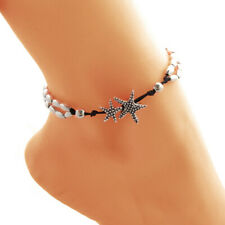 32cm Silver Sanskrit Starfish Two Layer Bead Chain Anklet Beach Ankle Chain