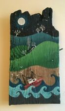 Handpainted driftwood rustic coastal country fishing boat  picture gift wall art