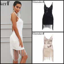 Elegant Strapless Sequined Party Dress With Tassel Women Sleeveless Off Shoulder