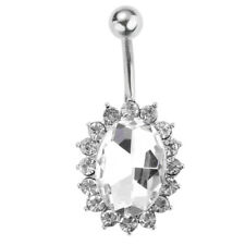 Chic Oval Body Piercing Jewelry Steel Navel Ring Belly Rhinestone Button Bar