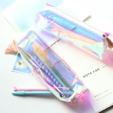 Clear Exam Pencil Case Transparent Simple Mesh Zipper Stationery School Supply