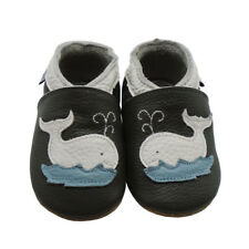 Mejale Baby Moccasins Leather Slippers Whale Toddler Shoes 0-36 Months Dark Gray
