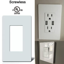 1 Gang Wall Plate Screwless Decorator Rocker GFCI Outlet Cover Polycarbonate UL