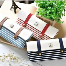 Creative Striped Canvas Pens Bag Stationery Students School Pencil Case Supplies