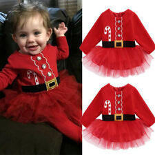 Red Kids Santa Claus Party Clothes Baby Girl Xmas Tulle Dress Outfits
