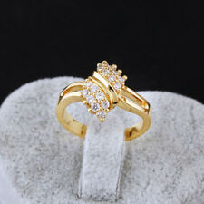 Plated Gold Colored Winding Crystal Round Ring Engagement