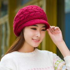 Women Winter Warm Earmuffs Wool Knitted Hat Middle-aged  Cap Beanies  Thickened
