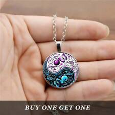Tibet Silver Cabochon Glass Pendant Chain Necklace Ying Yang Butterfly