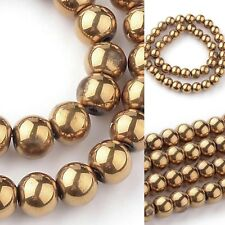 4mm Gold Electroplate Glass Spacer Round Beads Beading Jewelry Making Supplies