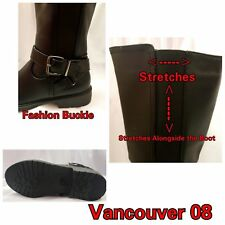 New Womens Fashion Zip Over Boots Knee High Mid Calf Buckle Ladies stretch 5-10