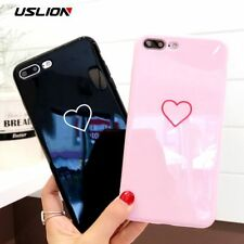 USLION Love Heart Smile Case For iPhone 7 8 Plus Couple Letter Phone Cases For