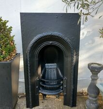 A Lovely Original Antique Georgian Arched Cast Iron Fireplace Insert