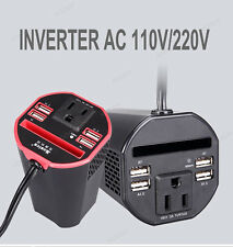 150W Car Power Inverter DC 12V to 110V AC Converter with 2A Dual USB Charger Cup