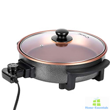Electric Skillet Frying Pan Non Stick 12 Inch Frypan Deep Aluminum Round Lid