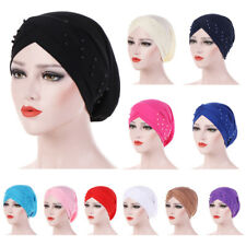Muslim Women Beads Elastic Turban Hat Cancer Cap Hijab Headscarf Wrap Baggy Caps