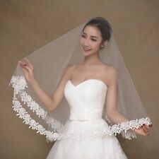 White Bridal Veils Wedding Veil Accessories Elbow Length Ivory Edge One Layer