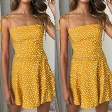 Ladies Sleeveless Summer Strappy Polka Dot Casual Short Women's Beach Dress S-XL