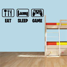 Eat Sleep Game ps4 Wall Art Sticker Gaming Gamer Boys Girls Kids Bedroom Decal.