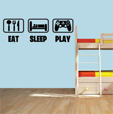 Eat Sleep play ps4 Wall Art Sticker Gaming Gamer Boys Girls Kids Bedroom Decal.