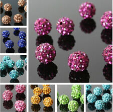 10Pcs Pave Round Crystal Rhinestones Clay Spacer Beads New Disco Ball Czech