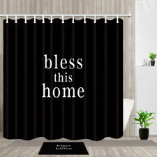 Bless this home on black Waterproof Fabric Shower Curtain & Hooks , Bathroom Mat