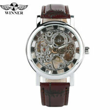 WINNER Mechanical Hand Winding Skeleton Leather Band Strap Mens Wrist Watch