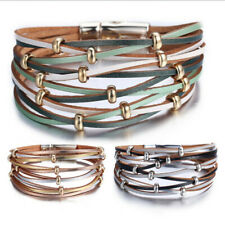 Women Men Hip Hop Multilayer PU Leather Charm Cuff Wristband Bracelet Bangle