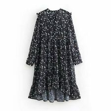 New Womens Sweet O-Neck Floral Print Long Sleeve Chiffon Ruffled Dress 3 Color
