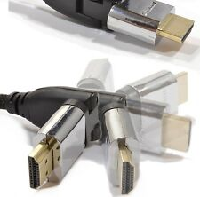 HDMI SWIVEL GOLD CABLE Angle Angled BENT Head Bluray 3DTV Xbox 1m 2m 3m 5m 10m