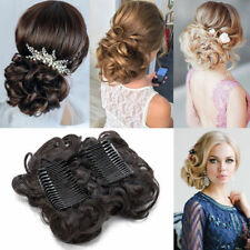 LARGE Comb Clip In Curly Synthetic Hair Pieces Chignon Updo Cover