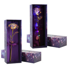 Artificial 24K Gold Foil LED Colorful Rose Flower for Valentines Day Best Gift