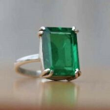 925 Sterling Silver Octagon Shape Ring Natural Colombian Emerald Mother Day Sale