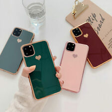 Plating Heart Silicone Back Case Soft Cover For iPhone 11 Pro Max XS XR 8 7 Plus