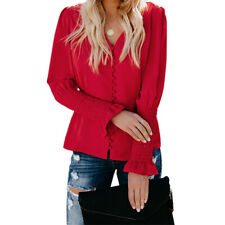 Autumn Women Solid Color Casual V-neck Shirt Blouse Button Long-sleeved Top
