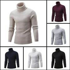 Knit Sweater Mens Pullover Winter Turtle Neck Warm Knitwear Jumper Casual Blouse