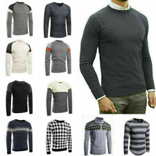 Blouse Men Casual Round Neck Knit Sweater Pullover Knitwear outwear Coat Top