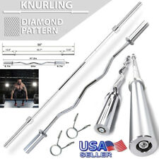 Olympic Weight Bar 7&5Ft Home Gym Fitness Solid Steel Exercise Barbell Rod