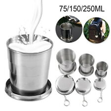 1-Stainless Steel Portable Folding Camping Cup Cup Telescopic Collapsible Travel