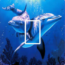 TWO BLUE DOLPHINS UNDER SEA LIGHT SWITCH COVER,STICKER