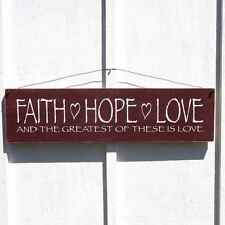 Country Home Decor Signs, Faith Hope Love U PICK COLOR!