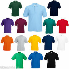 12 FRUIT OF THE LOOM POLO T SHIRTS 14 COLOURS ALL SIZES