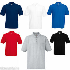 FRUIT OF THE LOOM POCKET POLO T SHIRT 5 COLOURS S-XXL