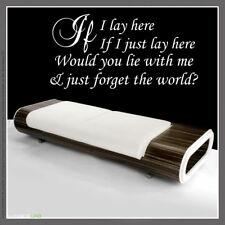 IF I LAY HERE Snow Patrol Lyrics Wall art sticker quote