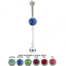 Dangling Design Belly Ring with Cz Gems 14G