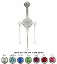Belly Button Ring Triple Dangle with Cz Jewel 14G