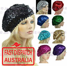 1 Ladies Girls French 70s Costume Party Dance Disco SEQUINED SEQUINS Hat BERET