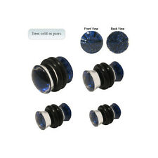 Pair of Clear Acrylic Ear Plugs with Blue Glitter - 0 Gauge to 6G