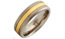 $99 Gentlemens Band Ring 14K Gold plated Titanium. New.